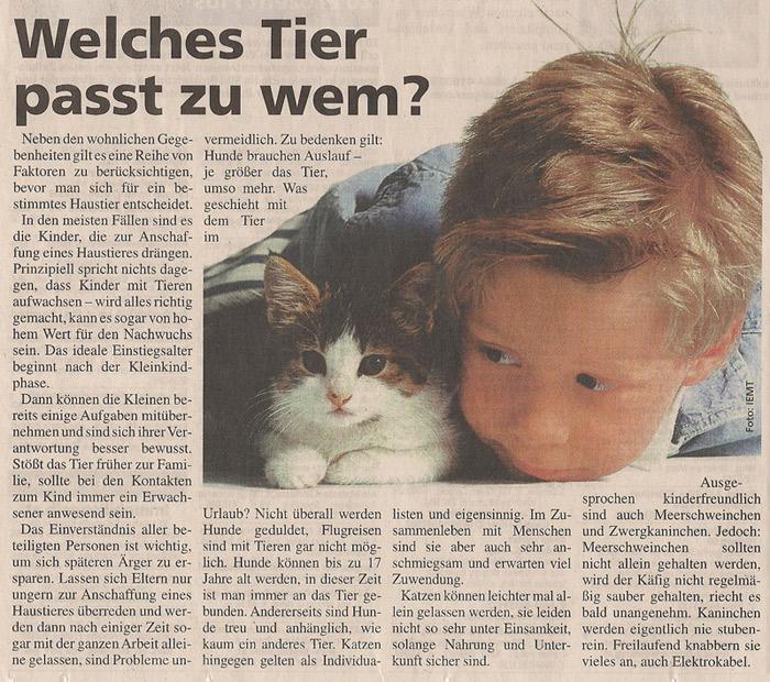 """Zeitungsartikel """"Welches Tier passt zu wem?"""""""